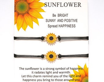 Positive Vibes  Sunflower Bracelet Duo - Spread Happiness