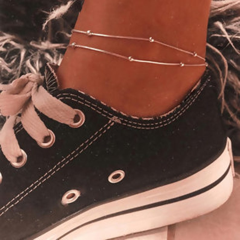 Delicate silver plated ball anklet image 0