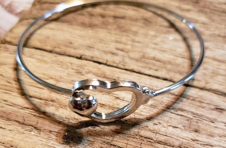 Two hearts interlocking bracelet Valentines bracelet hearts image 0