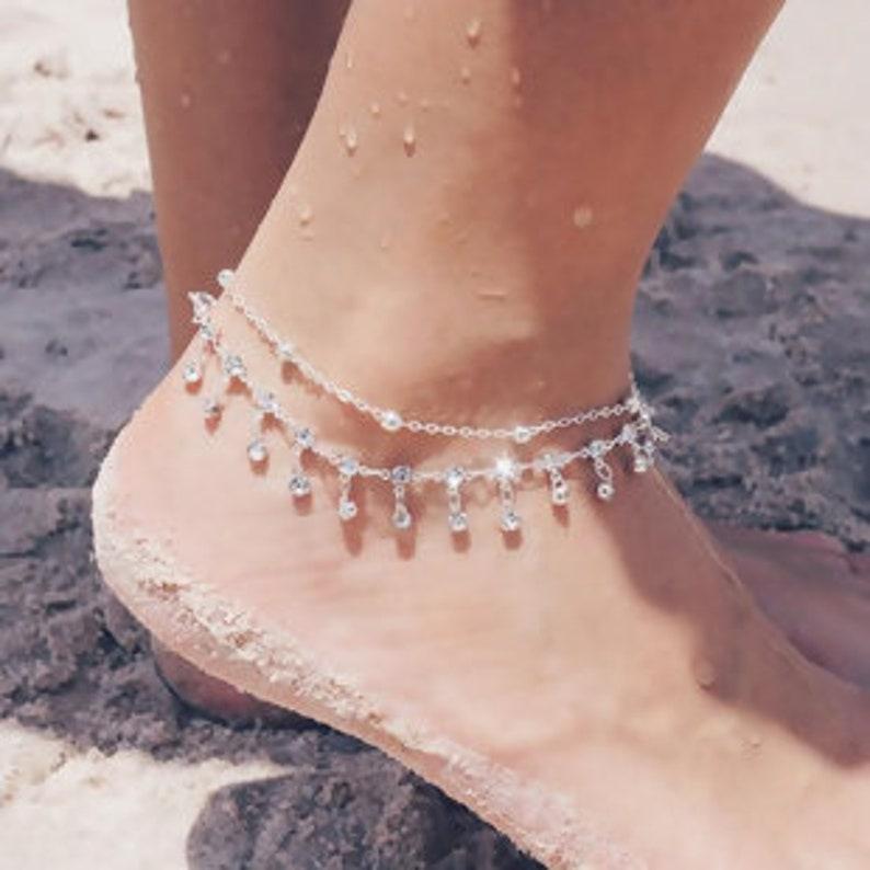 Rhinestone dangle anklet double anklet silver dress anklet image 0