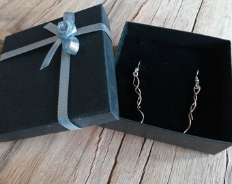 Delicate copper and silver drop earrings