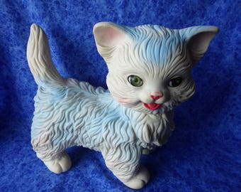 Vintage Edward Mobley Blue and White SLEEPY-EYE KITTEN Squeak Toy --Dated 1960-- Very Good Condition