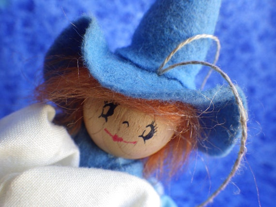 Vintage GERMAN KITCHEN WITCH --Little Blue Witch---Handmade in Germany