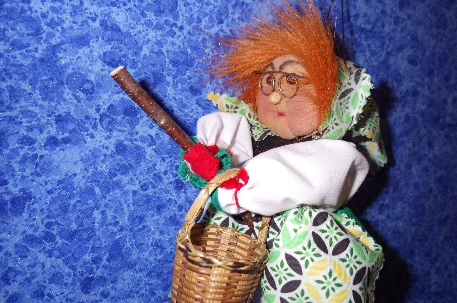 Vintage German HARZ MOUNTAIN WITCH--Fiery Red Hair Carrying Basket Green Dirndl--Wearing Scarf/Apron in Green/Yellow Print --Good Luck Witch