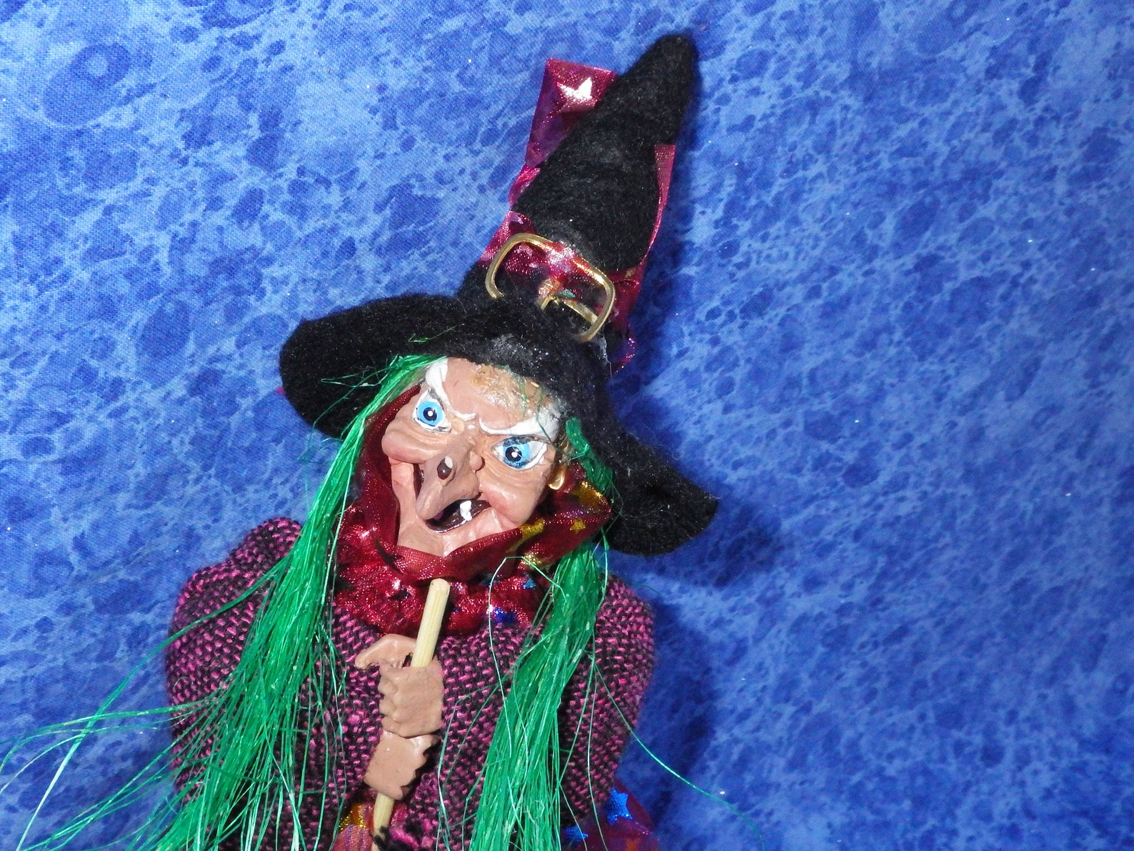 Vintage Green-haired GOOD LUCK WITCH from Germany in Rose Pink & Cranberry --Walpurgis Night -
