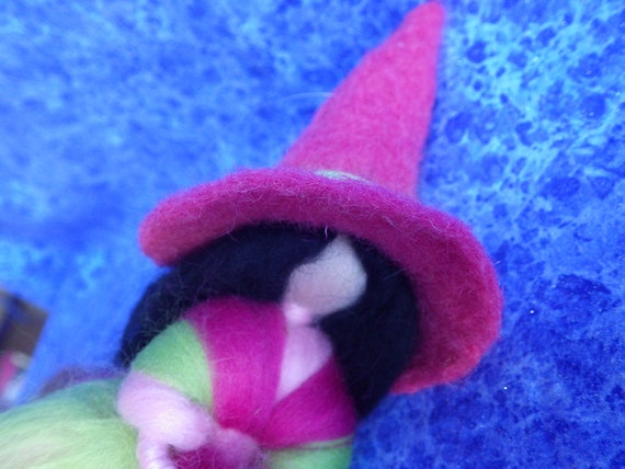 GERMAN KITCHEN WITCH--Pink, Green, and White --Magical Märchenwolle Felted Wool ---Made in Germany