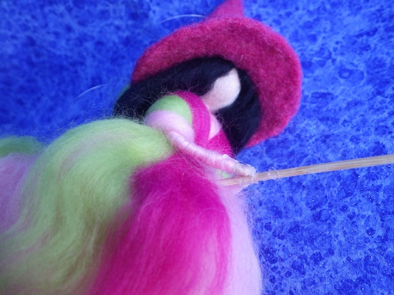 Lovely GERMAN KITCHEN WITCH--Pink, Green, and White --Magical Märchenwolle Felted Wool ---Made in Germany