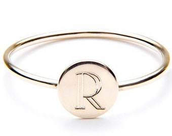 14K GOLD RING - initial ring / gift for her / letter ring / initial ring gold / name ring / rose gold intial / solid 14k intial ring