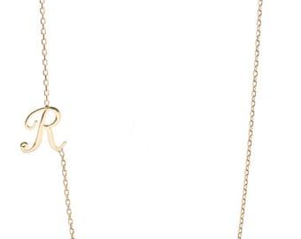 SIDEWAYS INTIAL necklace - sideways letter necklace - 14k sideways initial necklace - solid gold initial necklace - rose gold initial