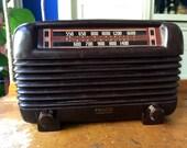 1948 Philco Transitone Tube Radio - Works Beautifully - Art Deco
