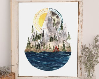 Whimsical Sun and Moon Watercolor Print * Great Outdoors