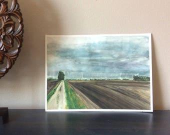 Casselton Fields - ORIGINAL watercolor painting