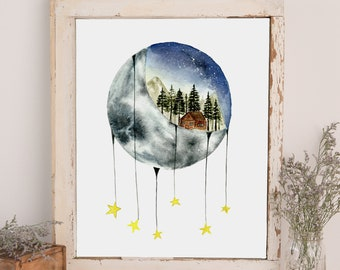 Watercolor Moon and Mountains Print - Watercolor Illustration