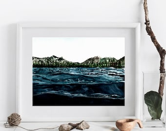 Waves on the Lake Watercolor Print