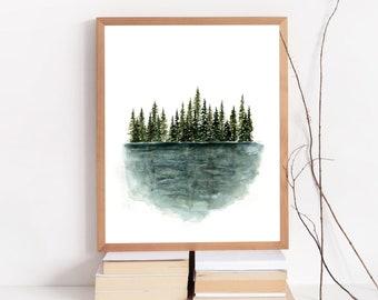 Reflections - Nature Print - Watercolor