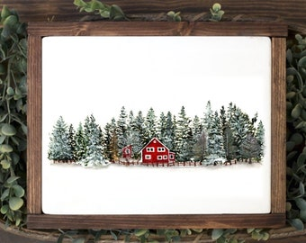 Red House In The Woods * Watercolor Print* Hygge