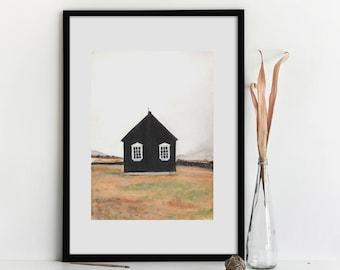 Nordic House * Watercolor Print* Hygge