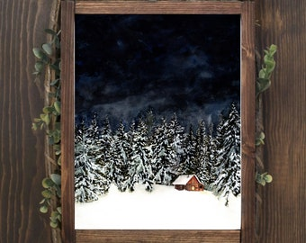 Silent Mountain Night 2 * Watercolor Print* Hygge Holiday