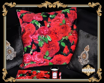 Red Rose Throw Pillow, Red Roses Throw Pillow, Red Rose Petals Decorative Pillow, Cherub Pillow