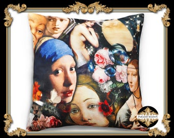 Botticelli, Waterhouse & Da Vinci Ladies Oil Painting Throw Pillow Cover (Floral and Ladies), Renaissance Throw Pillow