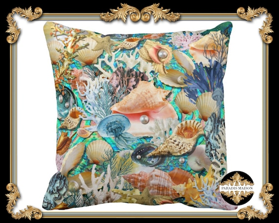 Sea Shell Throw Pillow Cover Seashells Decorative Pillow ...
