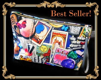 Tarot Card Makeup Bag, Occult Makeup Bag, Witch Make up Bag, Ouija Board Cosmetic Bag, Large Makeup Bag