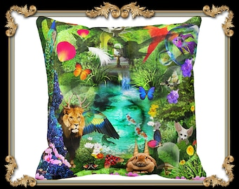 Anthropomorphic Pillow, Anthropological Throw Pillow, Animal throw pillow, Garden of Eden Pillow