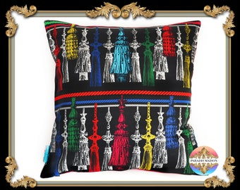 Tassel Time Multi-Color Cushion Cover (18 inch x 18 inch) (45cm x 45cm)