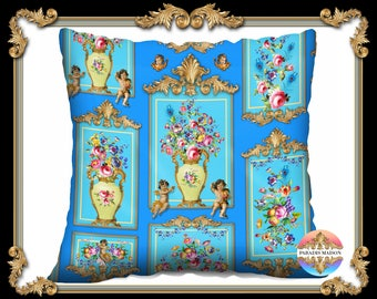 French Shabby Chic Versailles Baroque Gallery Velveteen Pillow Cover
