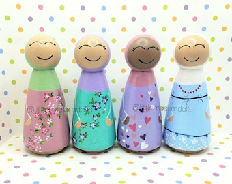 Pastel Peg Dolls Little Muslim Dolls spring dolls baby shower gift summer colors Light color Muslim arab islamic toy