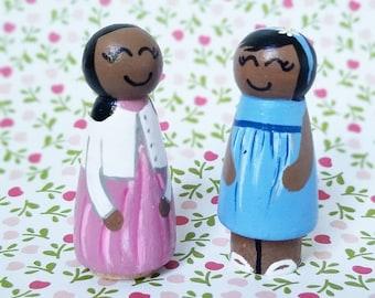Sister Dolls Twins Peg doll kids childrens daughter sisters muslim dolls
