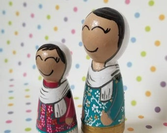 Mommy and Me Peg Doll Muslim Peg doll Muslim Hijab Islamic Toy