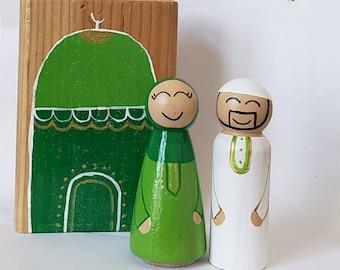 Wooden Masjid Muslim Dolls Peg Dolls Islam Makkah Mecca Hajj Islam Hijab Village Blocks Wood Building blocks