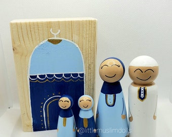 Masjid Block Muslim Peg Doll Color Wood Masjid Mosque Ramadan Decor Islamic Doll Eid