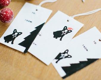 Holiday Gift Tag Set: French Bulldog (set of 12)