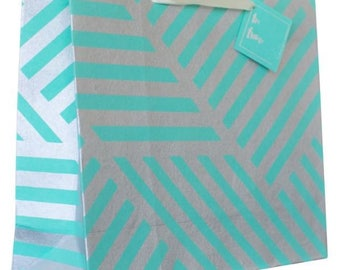 Luxury Geometric ZigZag Teal Green & Silver Gift Bag (Pack of 3)