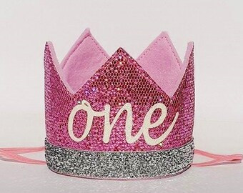 Baby Girl Pink and Silver First 1st Birthday Party Crown Hat for Cake Smash Photo Prop Pictures with the word ONE