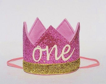 Baby Girl Pink and Gold First 1st Birthday Party Princess Glitter Crown Hat for Cake Smash Photo Prop Pictures with the word ONE