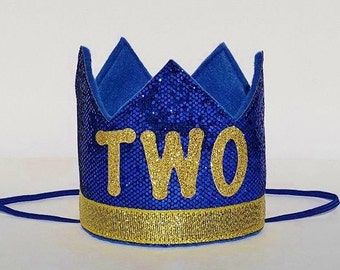 Baby Boy Second 2nd Birthday Party Crown In Royal Blue And Gold Prince Theme Cake Smash Photo Prop Hat With TWO Small
