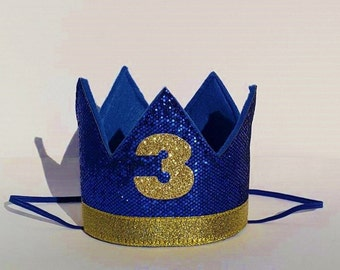 Baby Boy Third 3rd Birthday Party Cake Smash Crown In Royal Blue And Gold For Prince Theme Photo Prop Pictures Number 3