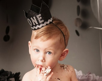 Baby Boy Black and Silver First 1st Birthday Party Crown Hat for Cake Smash Photo Prop with Letters ONE