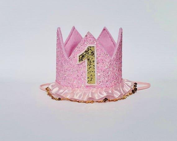 Baby niña rosa y oro primer 1er cumpleaños princesa brillo  90a13910db5