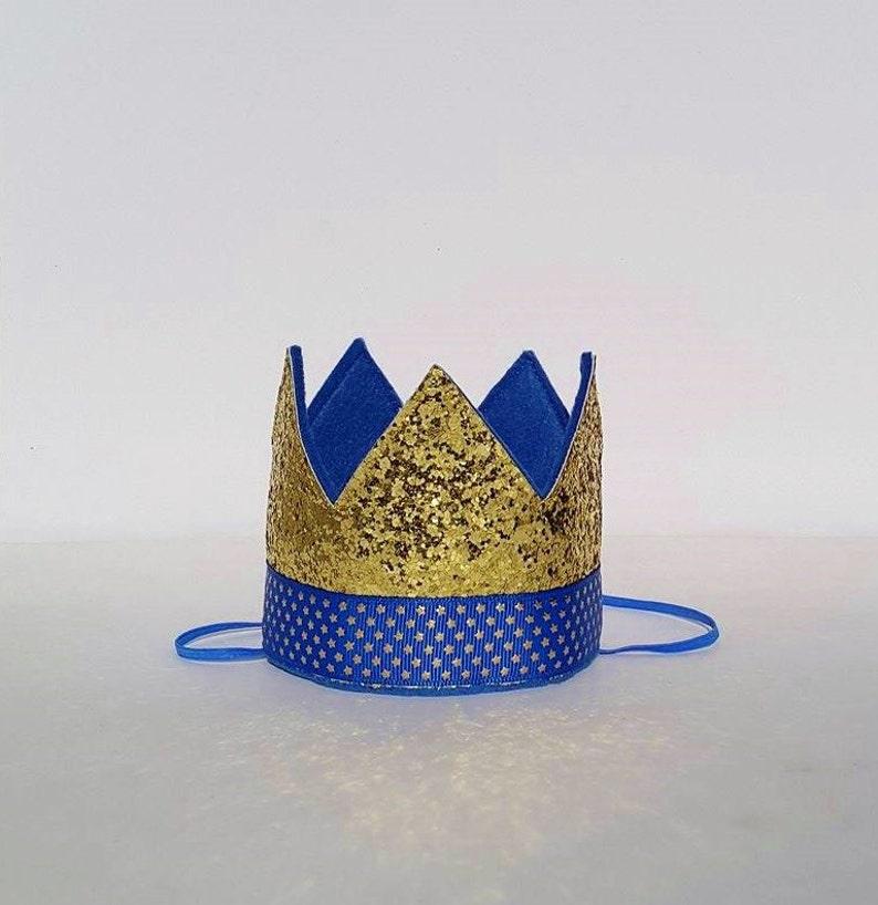 Bebé niño azul y corona de oro cumpleaños partido para torta  13769e382cd