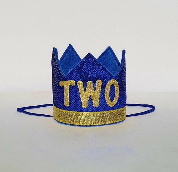Baby Boy Second 2nd Birthday Party Crown In Royal Blue And Etsy