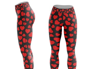 959479791b60e Black and Red Hearts Valentines Leggings - Love, Valentines Day, Yoga,  Athletic, Casual - Polyester Spandex, Comfortable Leggings.