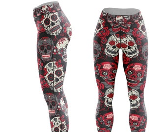 b9d80173e475b Sugar Skull Leggings - Day Of the Dead, Yoga, Athletic, Casual, Gym -  Polyester Spandex, Comfortable Leggings.
