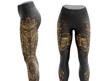 573225c8a344 Ornamental Owl Leggings - Gold