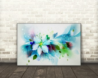 White Flower Abstract Canvas Print Art