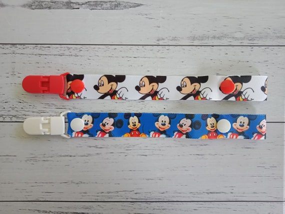 Personalised Stunning Disney Theme Mickey Mouse Dummy Clip Chain for Baby Girl Baby Boy by Polka Dot Ribbon with Bow Black