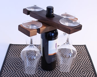 Wine Caddy Glass Holder Party Accessory Outdooring Garden Party Wood Walnut